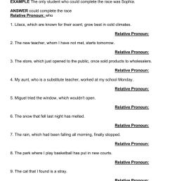 PRACTICE 15.2G Identifying Relative Pronouns and Adjectival Clauses  worksheet [ 1413 x 1000 Pixel ]