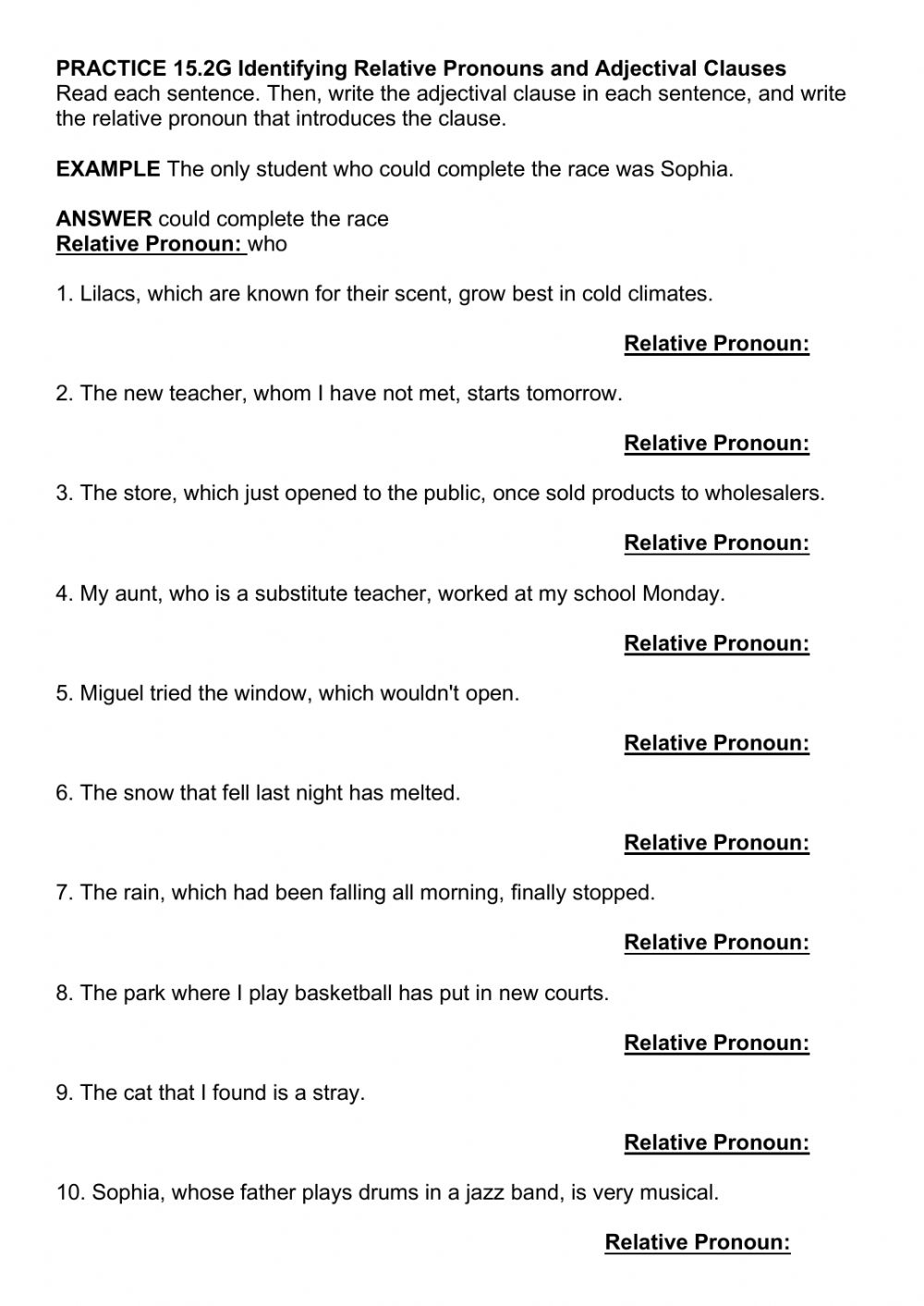hight resolution of PRACTICE 15.2G Identifying Relative Pronouns and Adjectival Clauses  worksheet