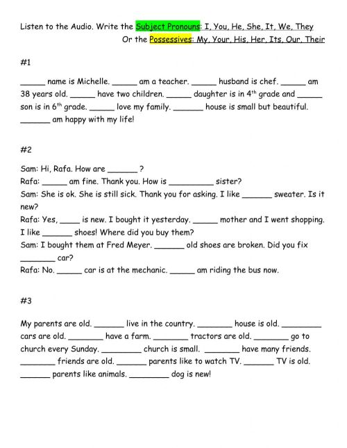 small resolution of Possessives or Subject Pronouns worksheet
