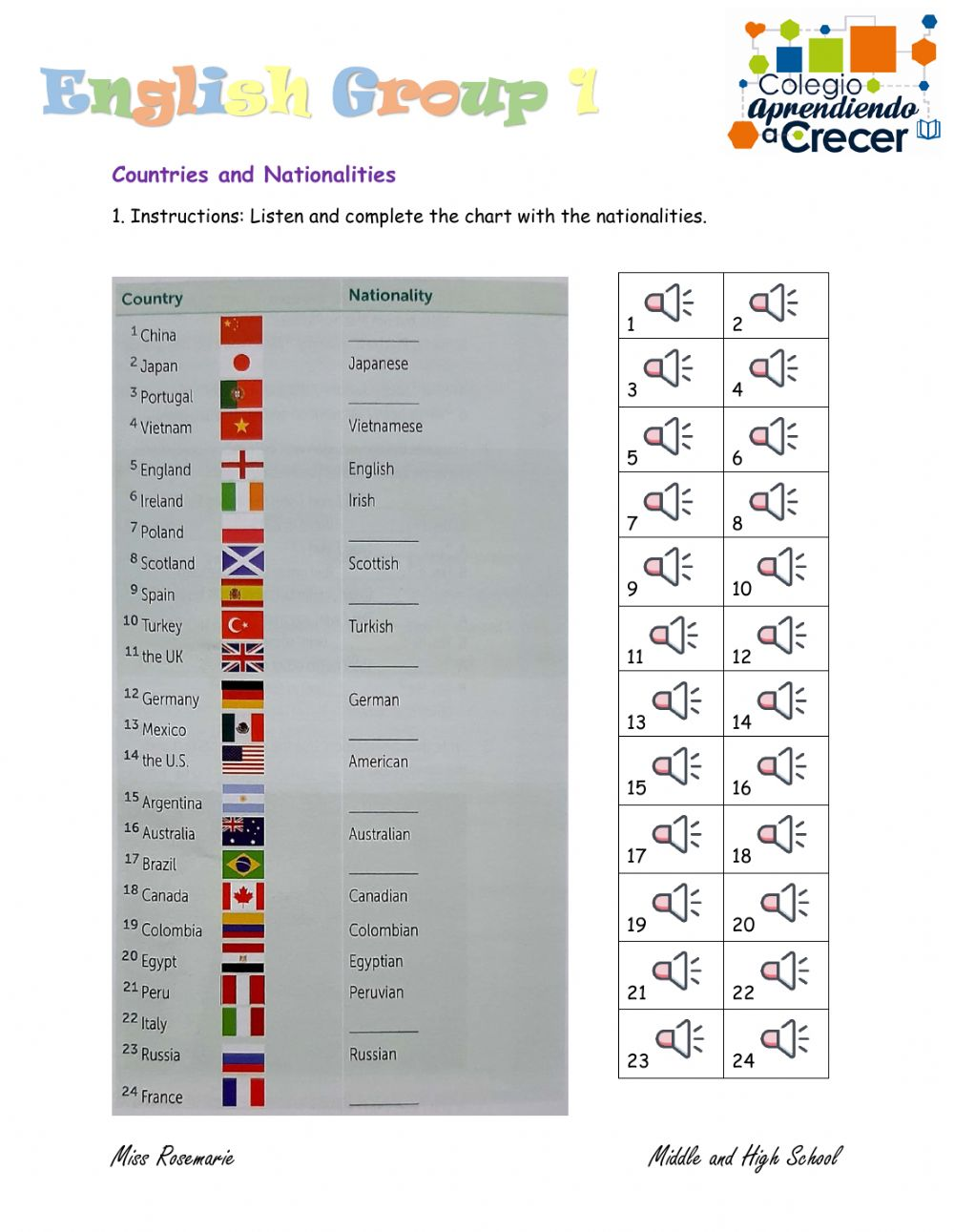 hight resolution of Countries and nationalities online exercise for 9th grade