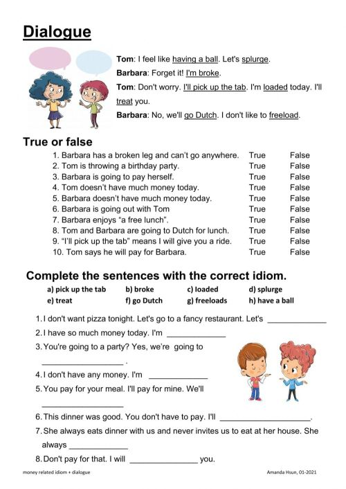small resolution of Dialogue-money related idioms worksheet