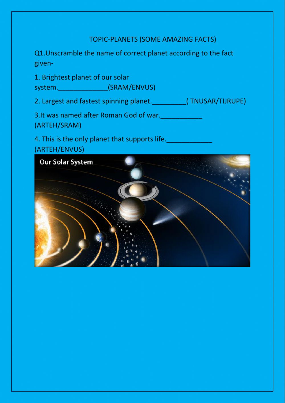 hight resolution of The solar system interactive exercise for 4