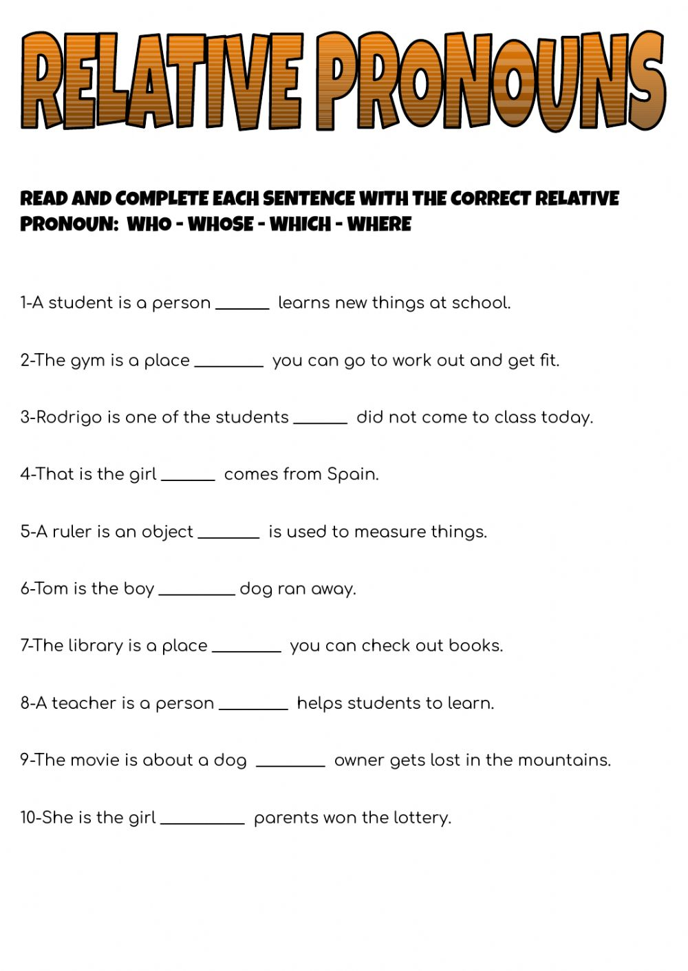 hight resolution of Relative pronouns online worksheet for 5TH GRADE