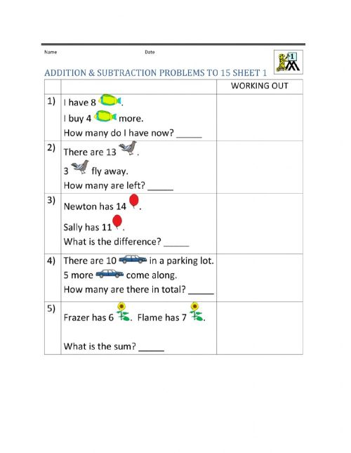 small resolution of Maths - word problems worksheet
