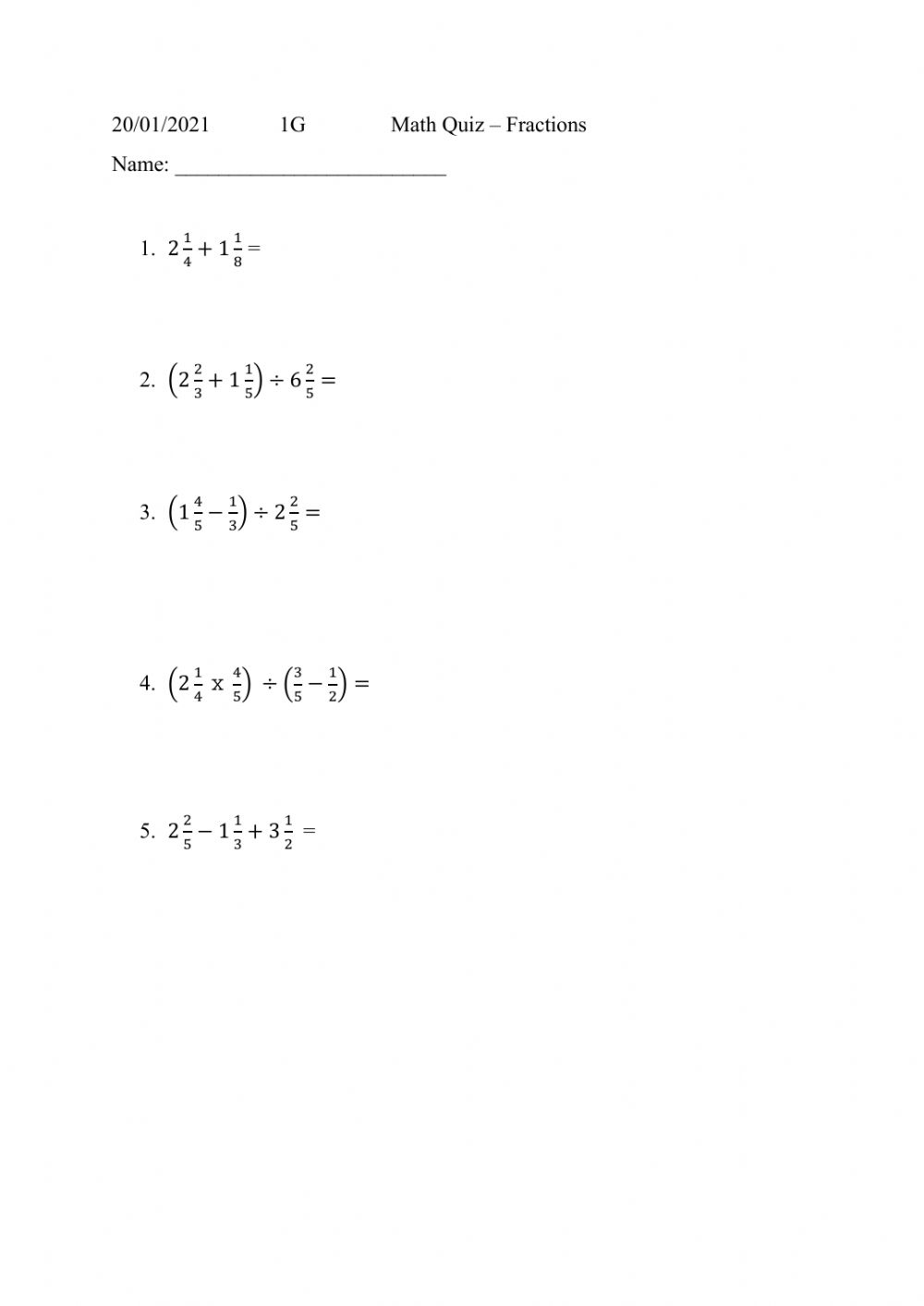 medium resolution of Fractions interactive worksheet for Grade 7