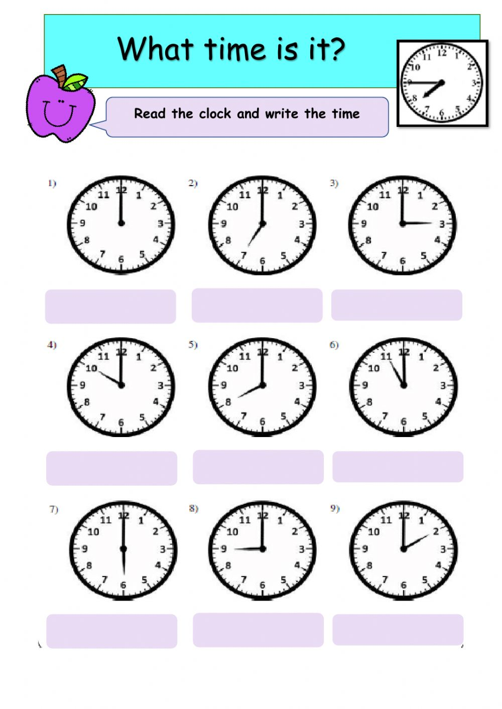 hight resolution of Telling Time online exercise for Grade 3