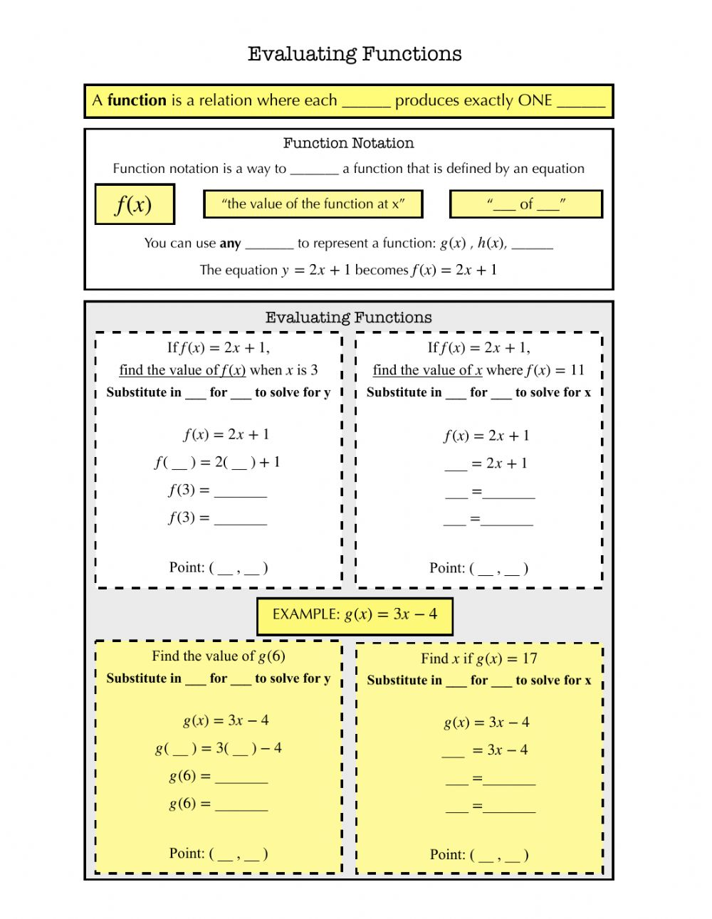 hight resolution of Evaluating Functions Notes worksheet