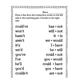 Contractions activity for 3rd Grade [ 1291 x 1000 Pixel ]