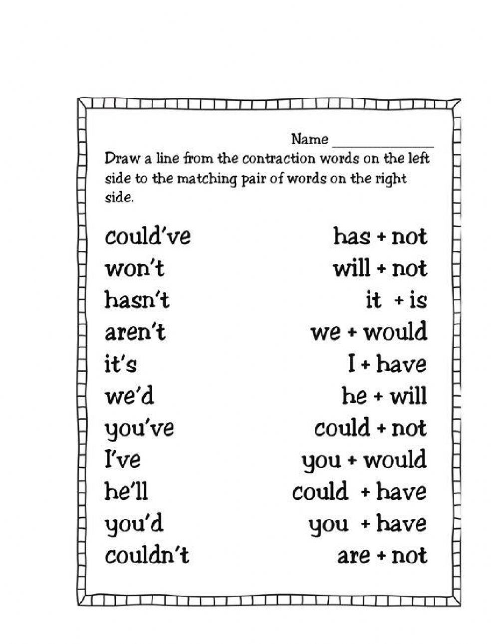 medium resolution of Contractions activity for 3rd Grade