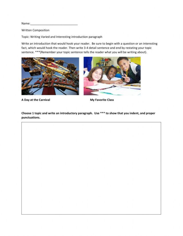 Writing Varied and Interesting Introduction paragraph worksheet