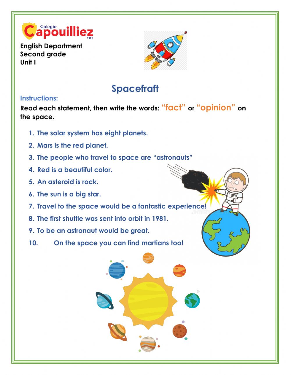 hight resolution of Fact and opinion about space worksheet