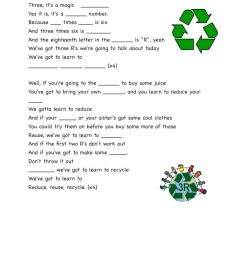 Recycling Song The three R's- Jack Johnson worksheet [ 1291 x 1000 Pixel ]