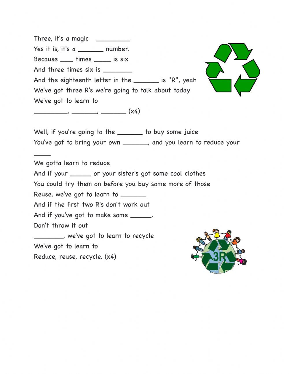 hight resolution of Recycling Song The three R's- Jack Johnson worksheet