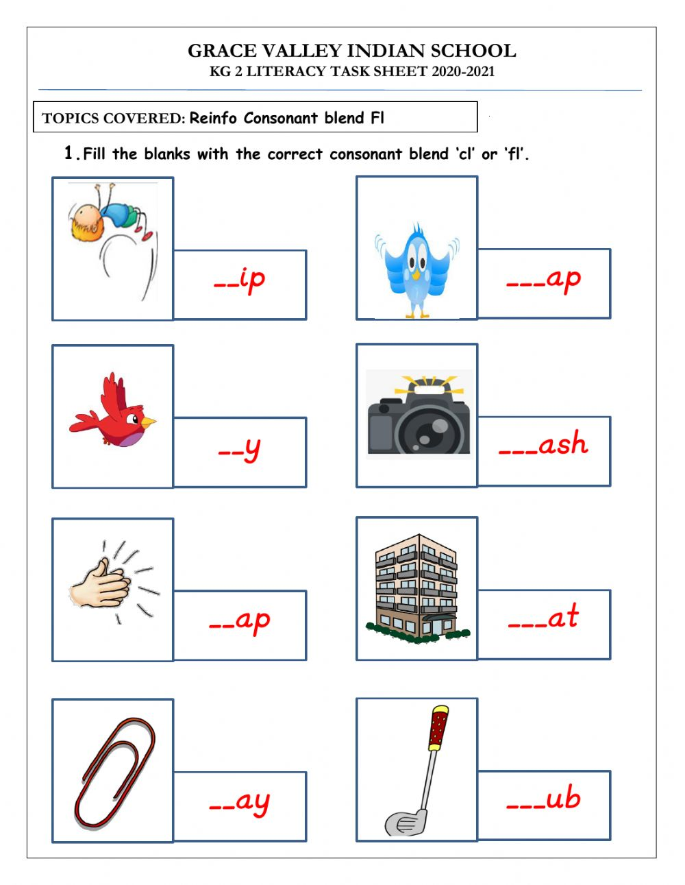 hight resolution of fl' consonant blends worksheet