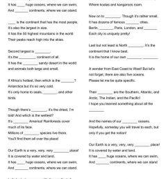 Continents song interactive worksheet [ 1413 x 1000 Pixel ]