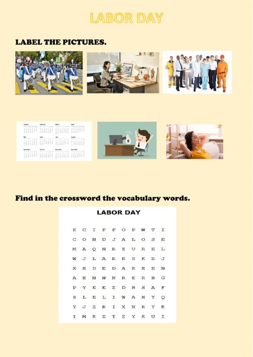 small resolution of Labor day interactive worksheet