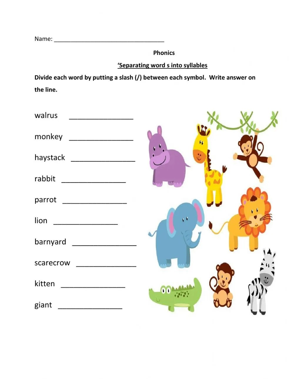 hight resolution of Splitting Words Into Syllables Worksheets
