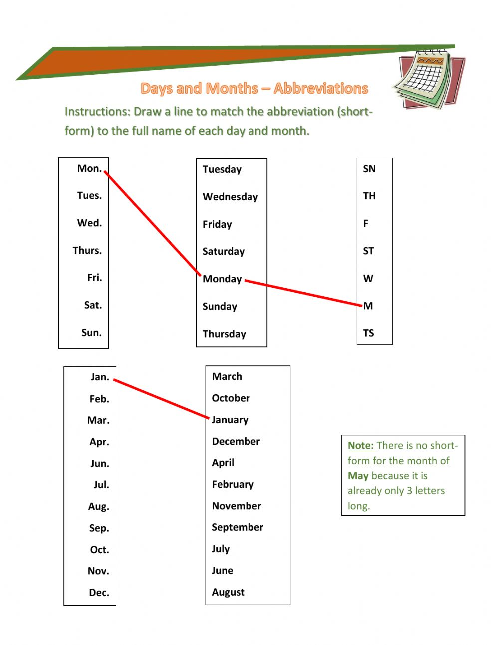 hight resolution of Days and Month Abbreviations worksheet