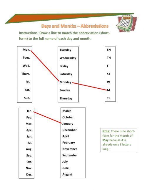 small resolution of Days and Month Abbreviations worksheet