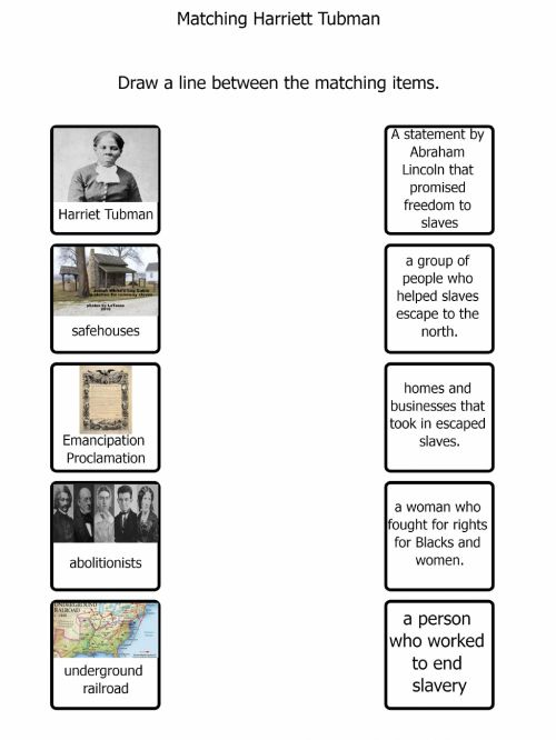 small resolution of Harriet Tubman matching worksheet