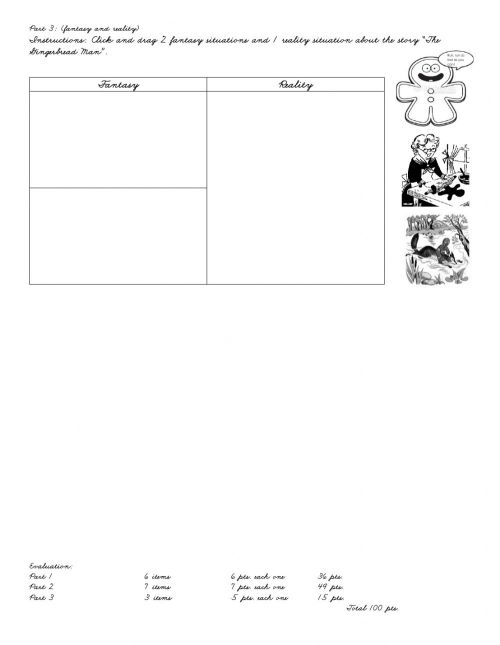 small resolution of Reading Skills fantasy and reality worksheet