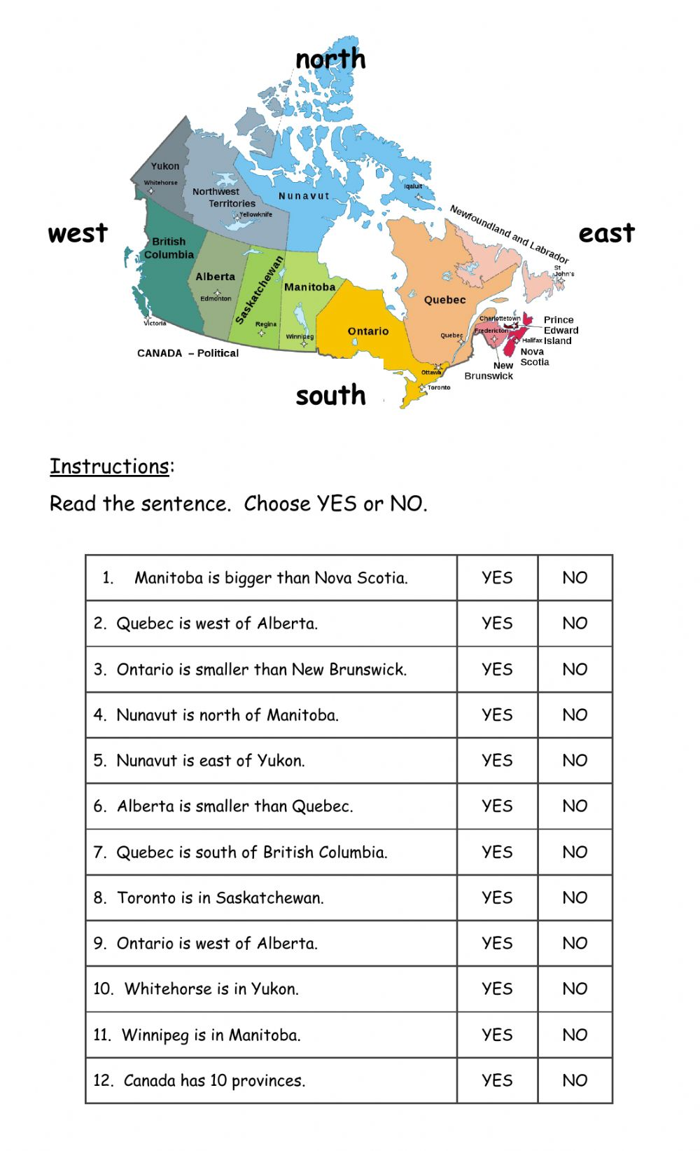 hight resolution of Canada - Geography worksheet