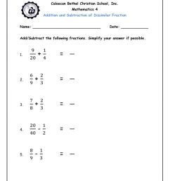Addition and Subtraction of Dissimilar Fraction worksheet [ 1291 x 1000 Pixel ]