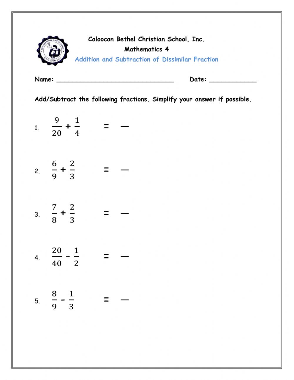 medium resolution of Addition and Subtraction of Dissimilar Fraction worksheet