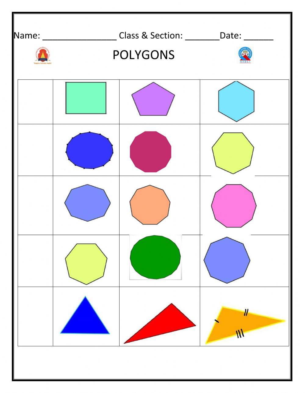 hight resolution of Polygons exercise for Grade 5