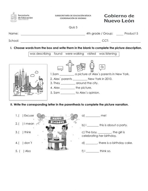 small resolution of Quiz 4th grade january worksheet