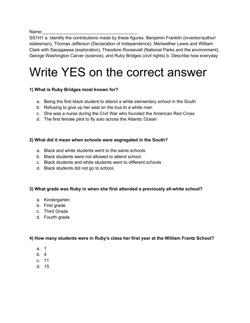 medium resolution of Social Studies Historical Characters worksheet