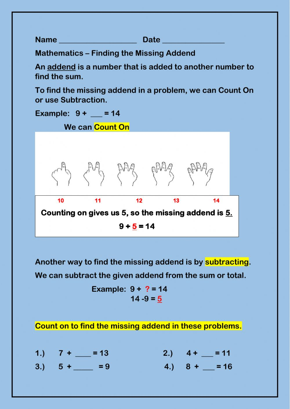 hight resolution of Finding the Missing Addend interactive worksheet