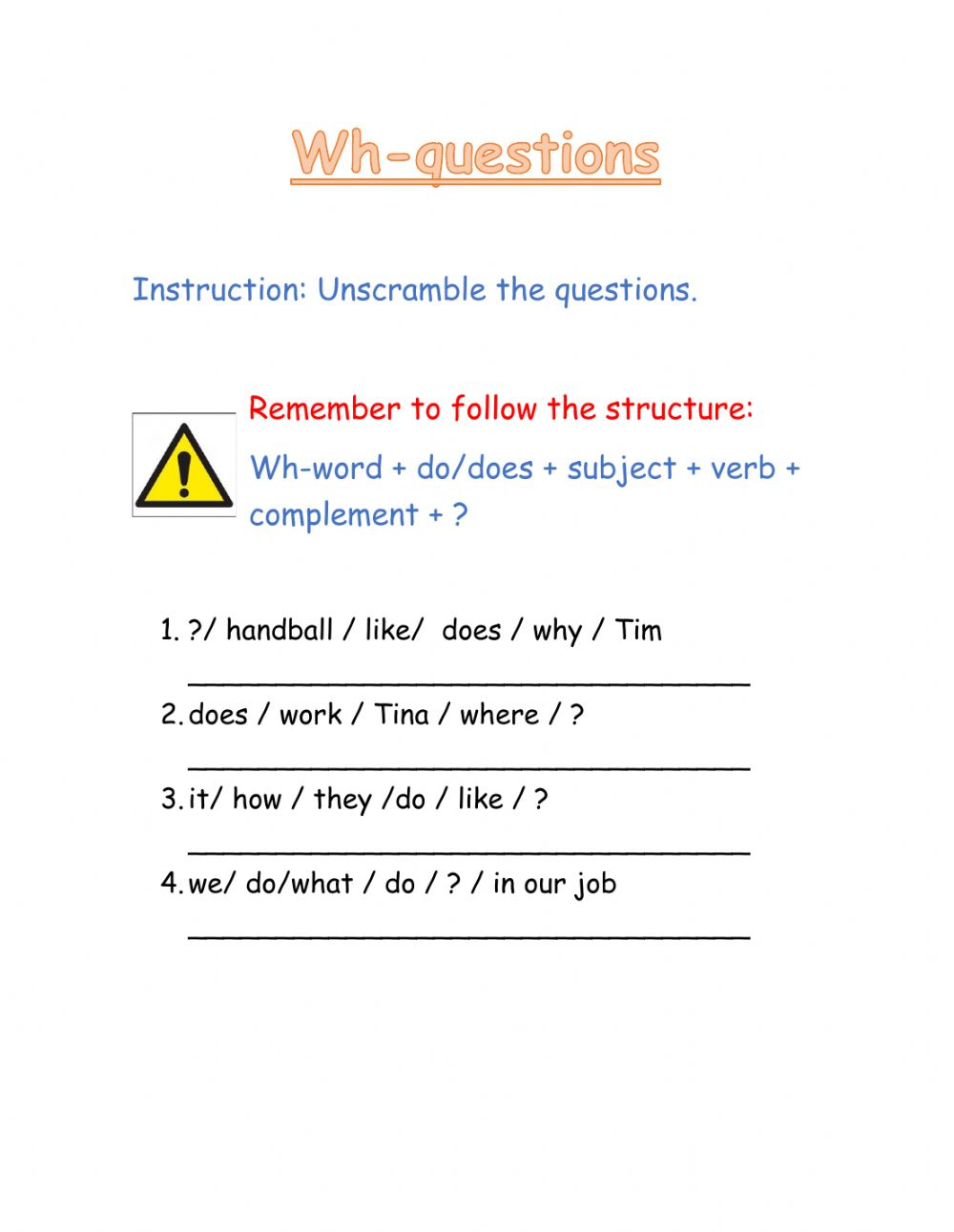 hight resolution of Wh- questions interactive worksheet for all grades