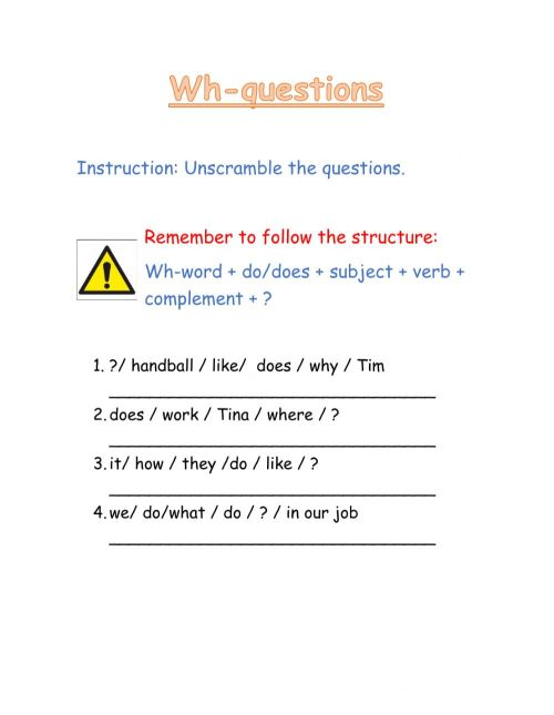 small resolution of Wh- questions interactive worksheet for all grades