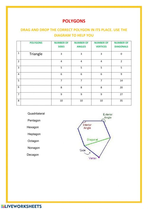 small resolution of Polygons online worksheet for Grade 6