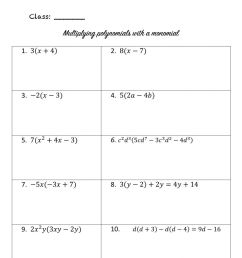 Multiplying polynomials with monomials worksheet [ 1413 x 1000 Pixel ]