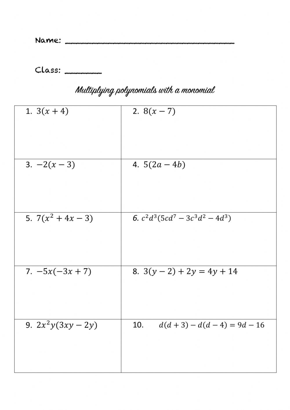 hight resolution of Multiplying polynomials with monomials worksheet