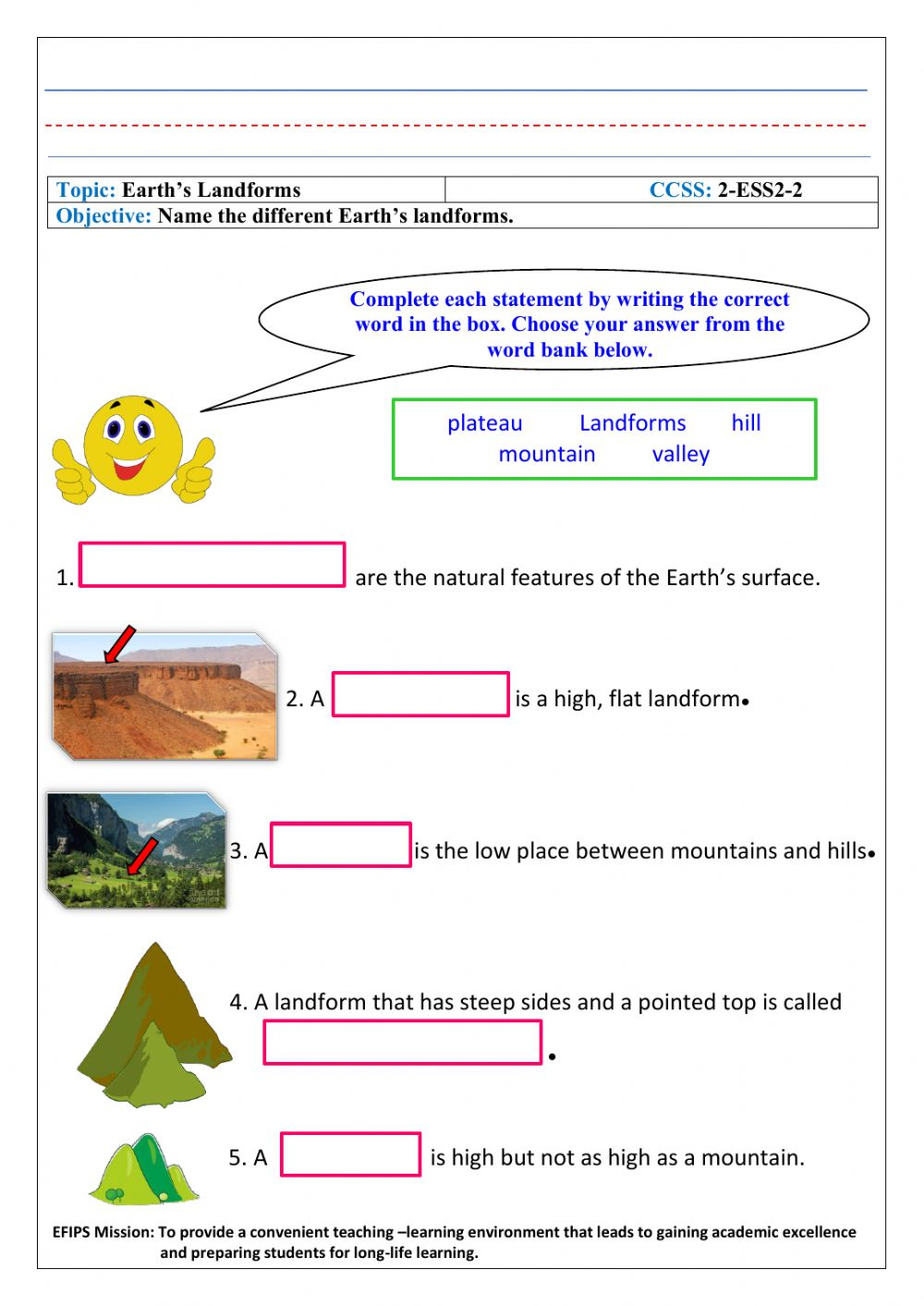 hight resolution of Earth's Landforms worksheet