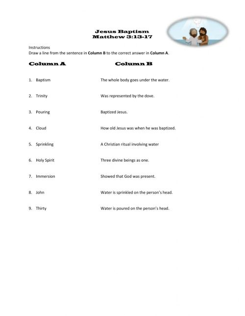 small resolution of Jesus' Baptism worksheet