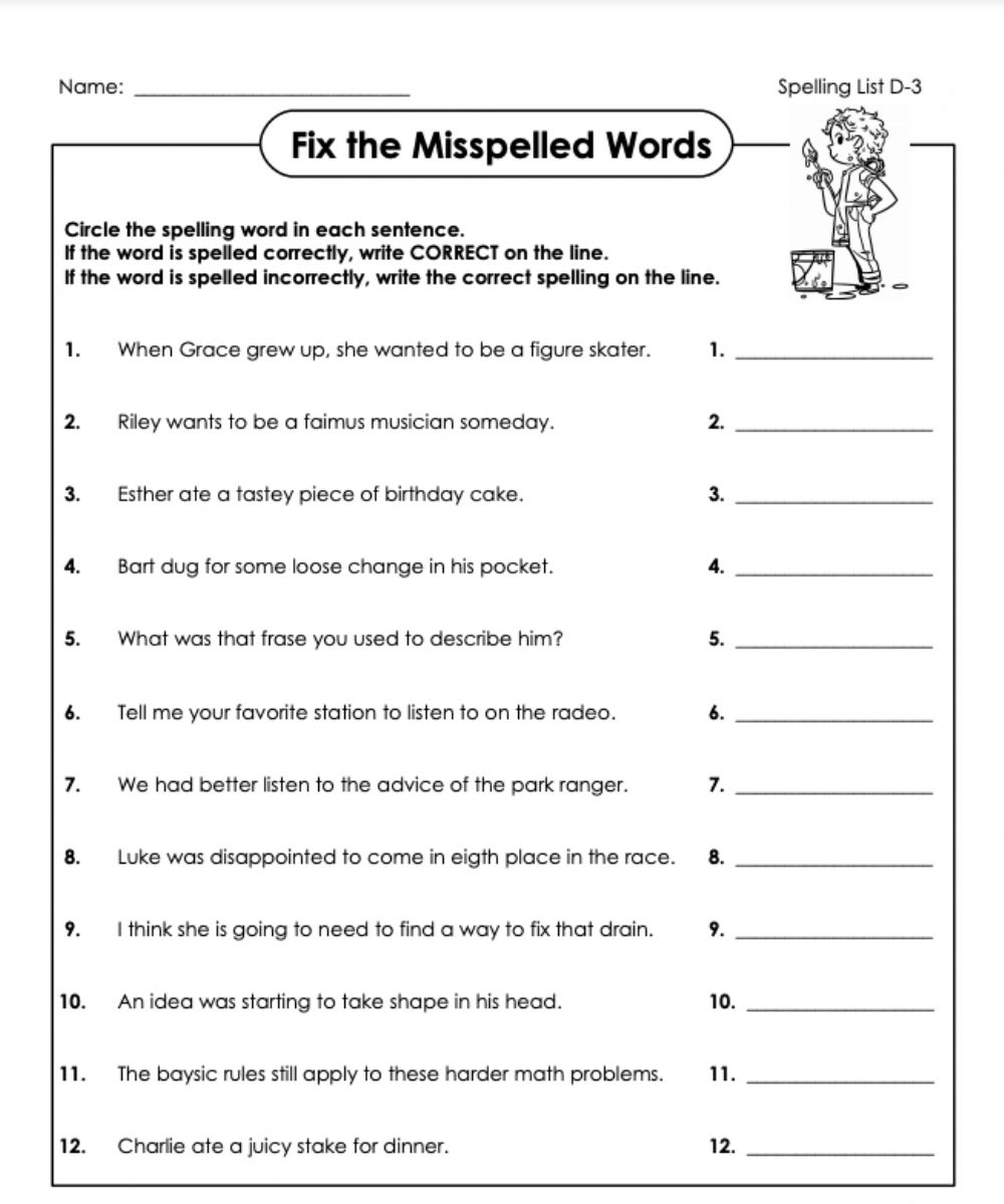 hight resolution of Fix the mistakes D-3 5th grade worksheet