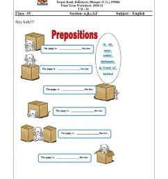 Class 4 Revision of Prepositions worksheet [ 1291 x 1000 Pixel ]