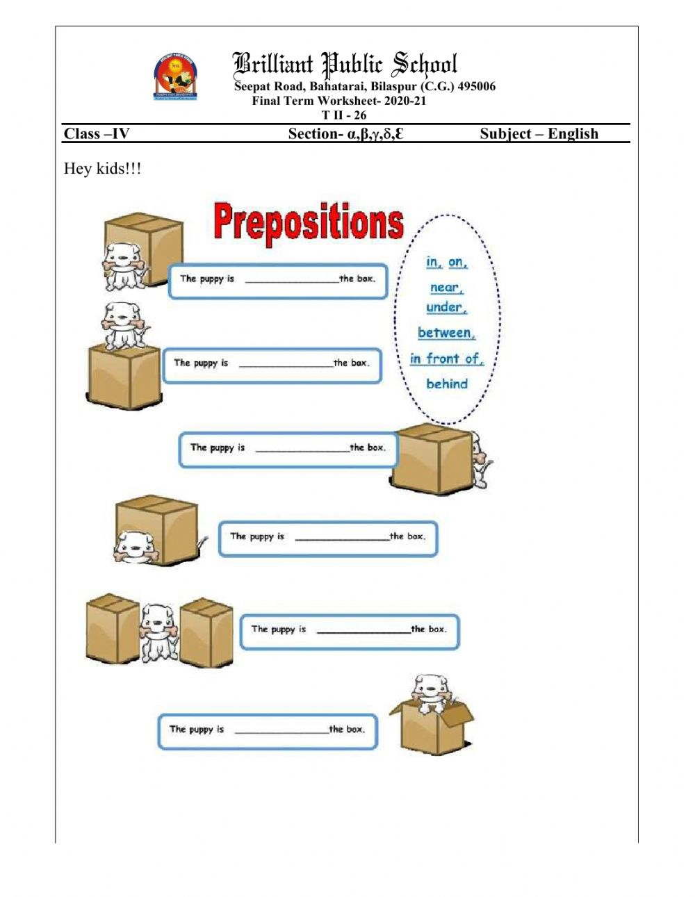 hight resolution of Class 4 Revision of Prepositions worksheet