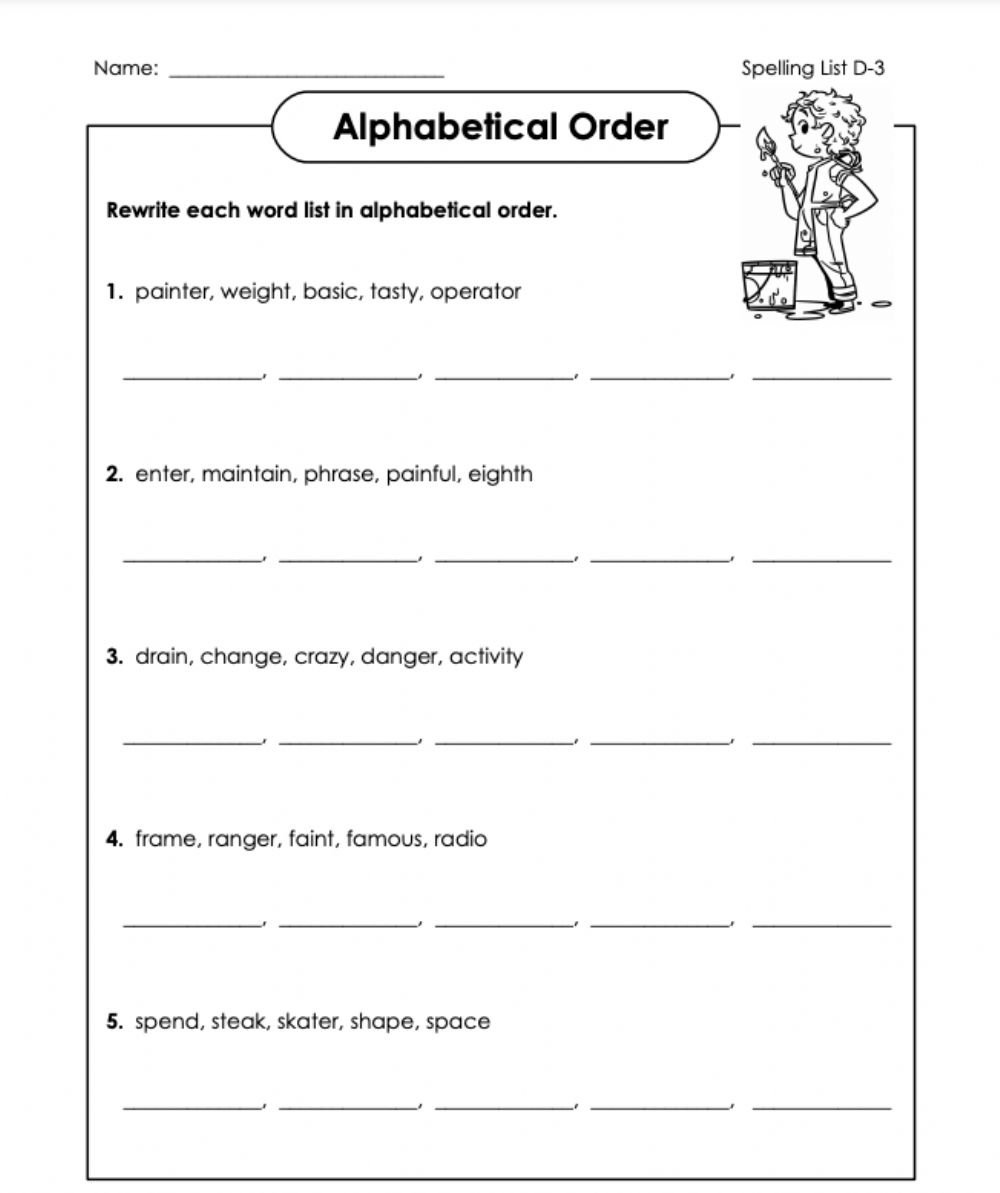 medium resolution of Alphabetical Order D-3 5th Grade worksheet