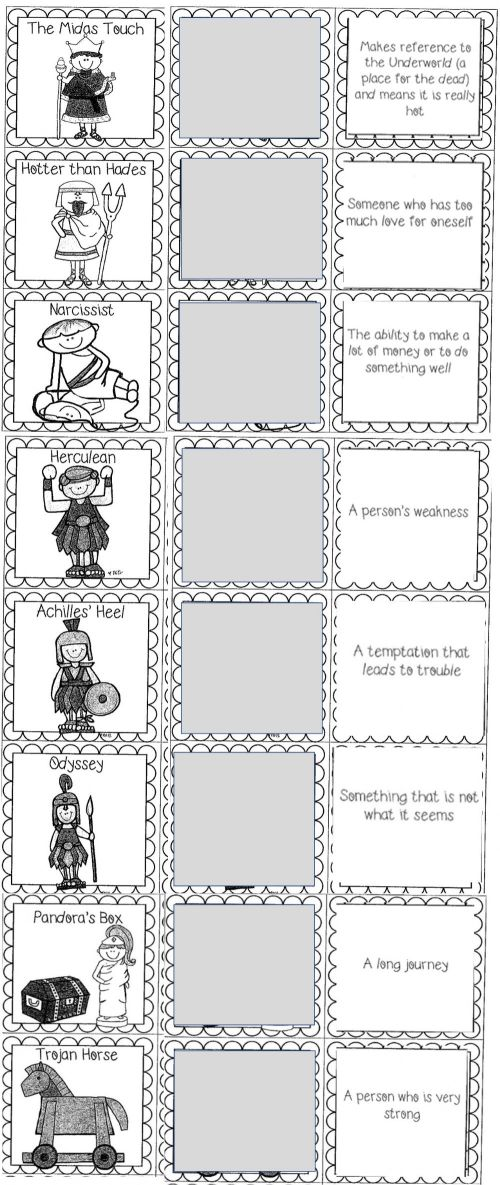 small resolution of Greek Mythology Allusions worksheet