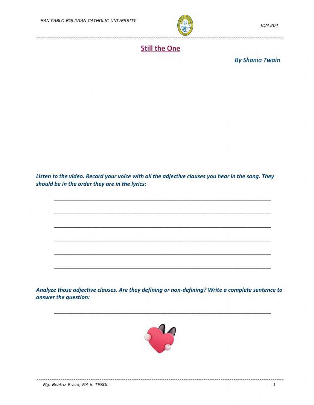 hight resolution of Song - Still the One by Shania Twain worksheet