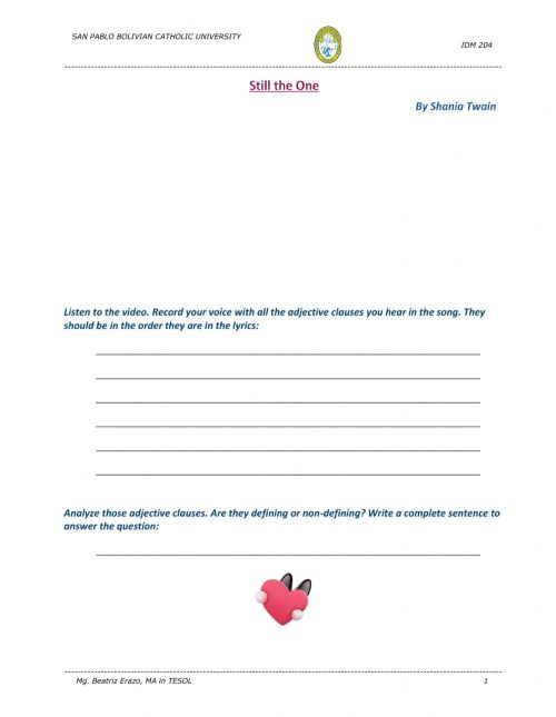 small resolution of Song - Still the One by Shania Twain worksheet