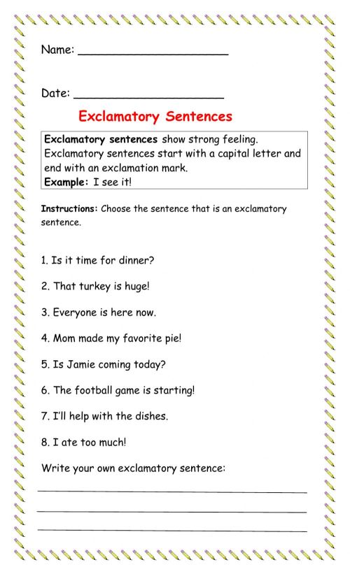 small resolution of Exclamatory Sentence worksheet