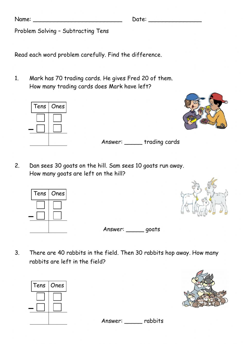 hight resolution of Subtracting Tens interactive worksheet