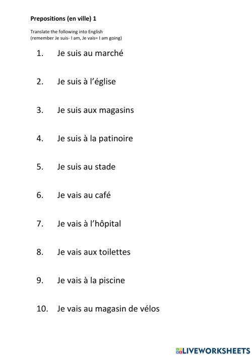 small resolution of French Prepositions En Ville 1 worksheet