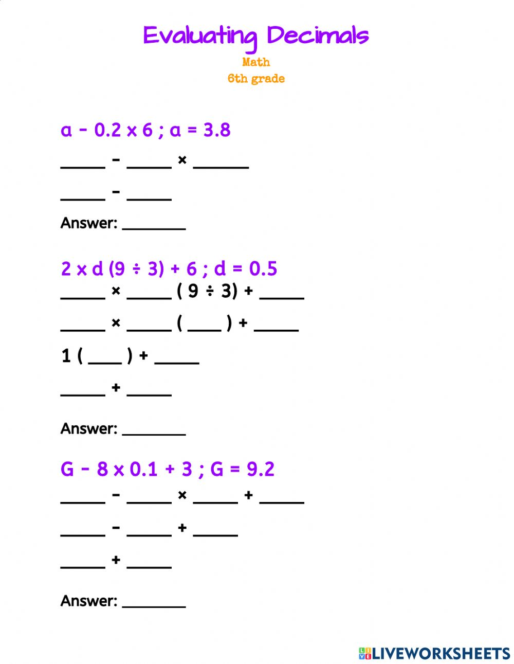 hight resolution of Evaluating Decimals worksheet